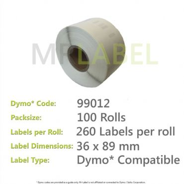 Dymo 99012 Compatible Roll of Labels (100 Rolls)